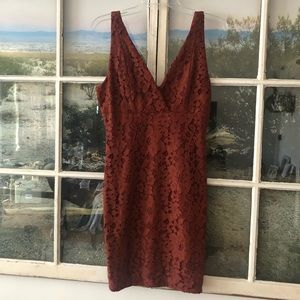 Burnt Orange Lace Tank Top Dress